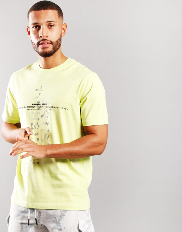 marshall artist research studio t shirt faded lime 1